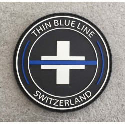 "Patch rund ""The Thin Blue Line Switzerland"""
