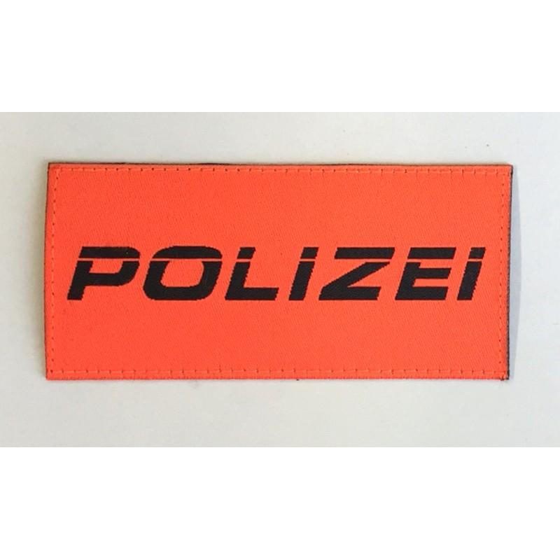 Patch Polizei orange kursiv 9.5 x 4.5 cm