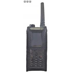 Funkholster Synthetik/Leder mit Kontaktpro-Halterung / Zusatzöffnung unten / zu POLYCOM TPH900