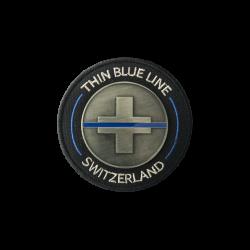 "BADGE IRON ""THIN BLUE LINE SWITZERLAND"""